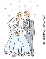 cérémonie, mariée, palefrenier, .vector, mariage