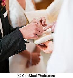 cérémonie, prendre, palefrenier, anneaux, mariage