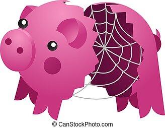 céramique, araignés, banque, cochon, vide, web., cassé, vecteur
