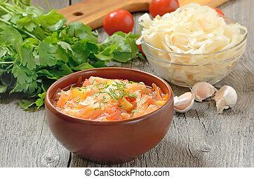 céramique, bol, soupe, choucroute