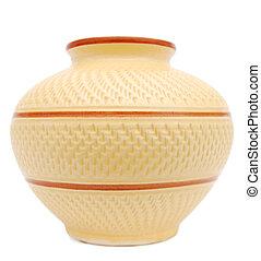 céramique, vieilli, vase