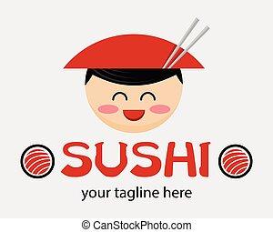 cône, mascot., sushi, hat., nourriture japonaise, dessin animé, concept., annonce, rigolote, magasin, vecteur, homme asiatique, restaurant., signe, ou