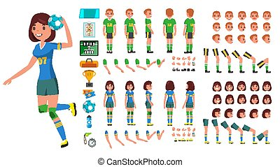 côté, création, dos, joueur, femme, mâle, femme, vue, set., caractère, isolé, gestures., poses, accessoires, vector., homme, plat, entiers, illustration, handball, émotions, dessin animé, figure, longueur, animé, devant