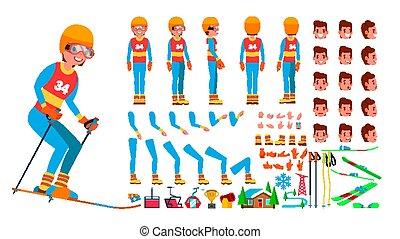 côté, création, dos, joueur, ski, vue, set., caractère, isolé, gestures., poses, accessoires, vector., plat, entiers, illustration, émotions, dessin animé, homme, animé, figure, longueur, mâle, devant