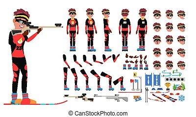côté, création, dos, joueur, vue, biathlon, set., caractère, isolé, gestures., poses, accessoires, vector., plat, entiers, illustration, émotions, dessin animé, homme, animé, figure, longueur, mâle, devant