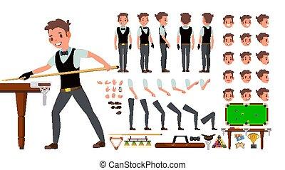 côté, création, dos, joueur, vue, set., caractère, isolé, gestures., poses, accessoires, vector., plat, entiers, illustration, snooker, émotions, dessin animé, homme, animé, figure, billiard., longueur, mâle, devant