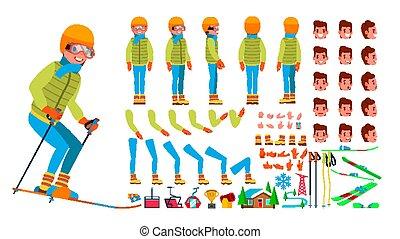côté, création, dos, ski, vue, set., caractère, isolé, gestures., poses, accessoires, vector., plat, entiers, illustration, émotions, dessin animé, homme, animé, figure, longueur, mâle, devant