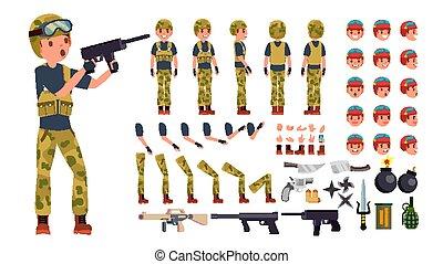 côté, création, dos, war., vue, armée, set., caractère, gestures., poses, accessoires, vector., entiers, illustration, émotions, uniform., homme, animé, figure, soldat, longueur, militaire, mâle, devant