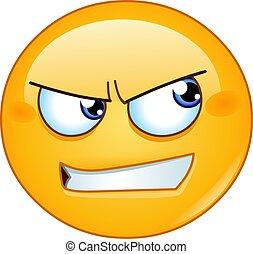côté, fâché, regarder, emoticon