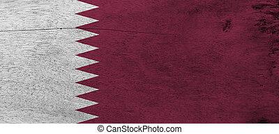 côté, neuf, arrière-plan., côté, rouge foncé, qatar, secteur, texture, qatari, bande, grue, mouche, bois, blanc, séparé, triangles., grunge, drapeau, plaque