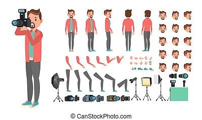 côté, pictures., création, arrière affichage, photographe, set., caractère, isolé, gestures., poses, accessoires, vector., plat, entiers, illustration, émotions, dessin animé, homme, prendre, figure, longueur, animé, devant