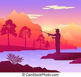 côte, position homme, rivage, river., tige, forêt, silhouette, peche, pêcheur