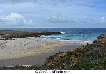 côte, scénique, paysage, plage, aruba