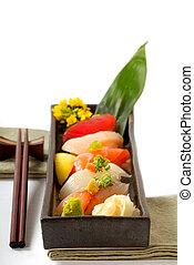 côtelette, plaque, sushi, bâtons, japonaise