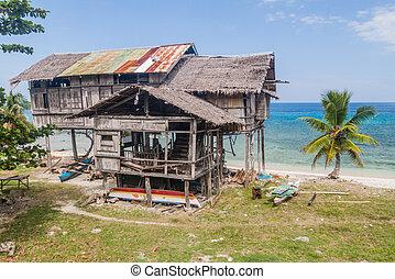 côtier, maison, siquijor, île, échasses, philippine