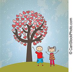 cœurs, arbre, childrens