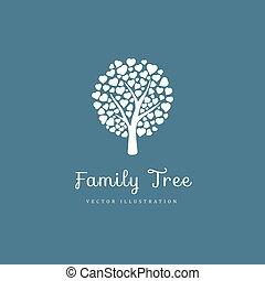 cœurs, arbre, famille