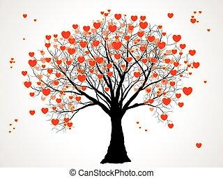 cœurs, arbre, valentin