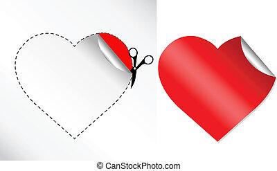 cœurs, autocollant, formulaire