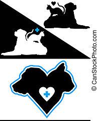 cœurs, chien, chat