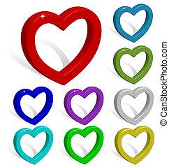 cœurs, coloré, collection, 3d