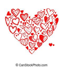 cœurs, conception, ton, valentin