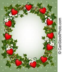 cœurs, couronne, frontière, lierre, valentin