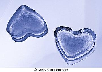 cœurs, cube, glace