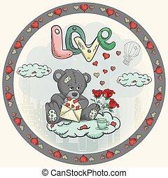 cœurs, décoration, nuage, tenue, jour, conception, séance, teddy, fleurs, jouet, style, griffonnage, autocollant, ours, rose, valentines, courrier, childrens, enveloppe, illustration, rond