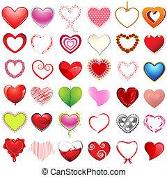 cœurs, différent, style