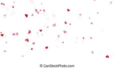 cœurs, disperser, rouges, explosion, différent, fond blanc, directions