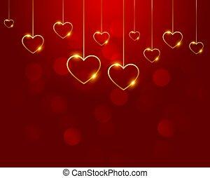 cœurs, doré, décoration, rouges, gentil, fond
