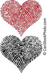 cœurs, empreinte doigt