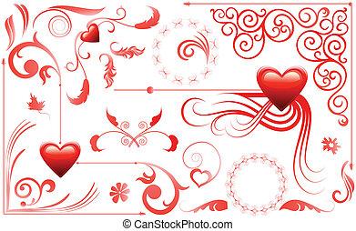 cœurs, ensemble, amour, valentin