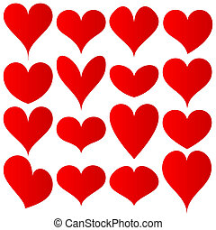 cœurs, ensemble, rouges