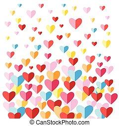 cœurs, fête, fond, multi-coloré