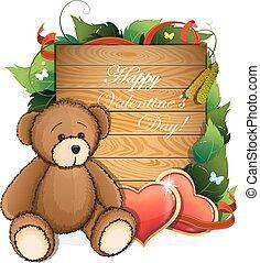 cœurs, feuillage, valentin, ours peluche