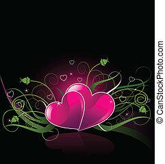 cœurs, fond, romantique