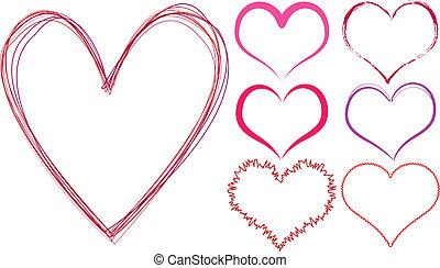cœurs, gribouiller