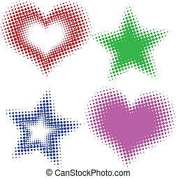 cœurs, halftone, étoiles