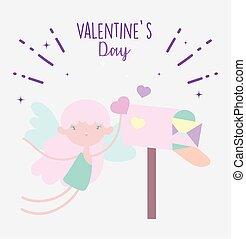 cœurs, heureux, mignon, boîte lettres, jour, cupidon, valentines