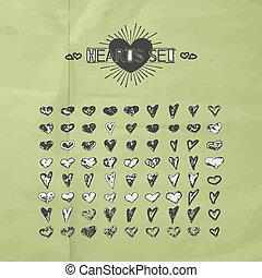 cœurs, main, dessiné