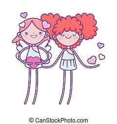 cœurs, mignon, valentines, romantique, cupidon, amour, jour, heureux