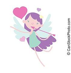 cœurs, mignon, valentines, romantique, dessin animé, jour, cupidon, flèche, heureux