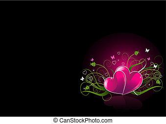 cœurs, noir, romantique, fond