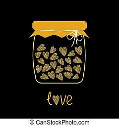 cœurs, noir, scintillements, pot, amour, or, scintillement, texture, fond, bouteille, intérieur.