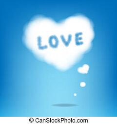 cœurs, nuage, texte