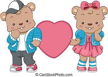 cœurs, ours, teddy