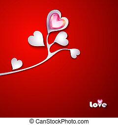 cœurs, papier, branche arbre