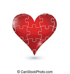 cœurs, puzzle, conception, illustration